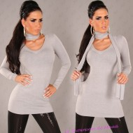 Pull gris long