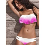 Bikini franges rose tie and dye