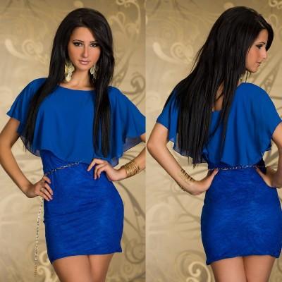 Robe bleu asymétrique