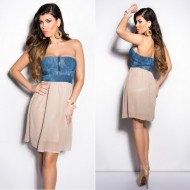 Robe longue bustier taupe