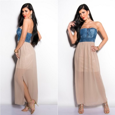 Robe bustier taupe jeans