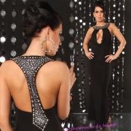 Robe longue noire bijoux